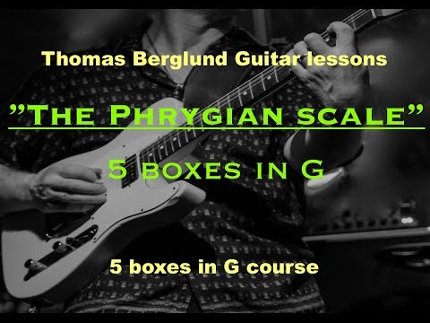 Phrygian scale all over the guitar neck / 5 boxes in G // Guitar lessons