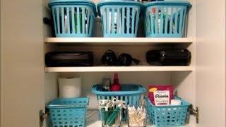 Bathroom Storage and Small Linen Closet Organization