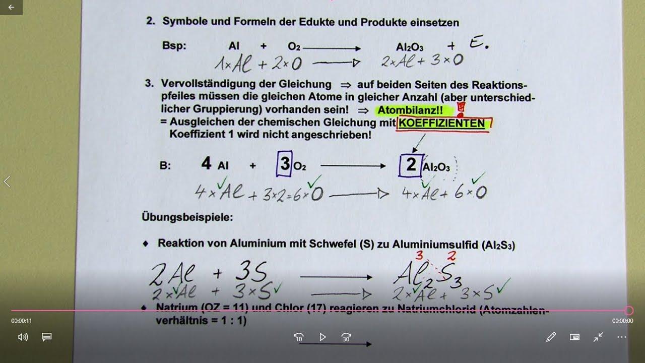 AB Aufstellen von Reaktionsgleichungen - Teil 02 - YouTube
