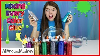 Every Color Glue Slime Challenge / AllAroundAudrey