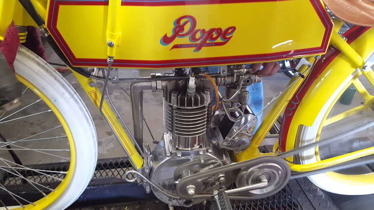 1913 Pope Motorcycle Board Track Racer Running For First