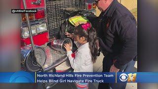 North Richland Hills Fire Prevention Team Helps Blind Girl Navigate Fire Truck