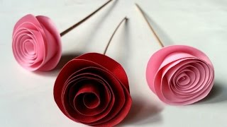 DIY Easy Rolled Paper Roses for Mothers Day, Birthday Gift, Wedding Flowers or Valentines Day