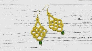 Needle tatting. Yellow earrings with a crystal bead / Фриволите иглой. Желтые серьги с бусиной