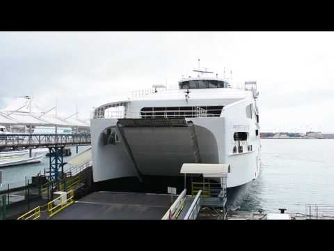 Papeete, Tahiti, French Polynesia - Aremiti Ferry 2 Arrives at the Papeete Ferry Terminal HD (2017)