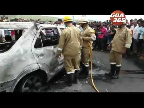 Father, son killed in road mishap at Siolim, irate local set ablaze MH car