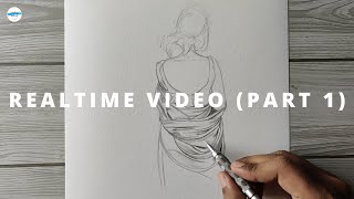 How To Draw Saree FREEHAND - Realtime Video (Part 1)