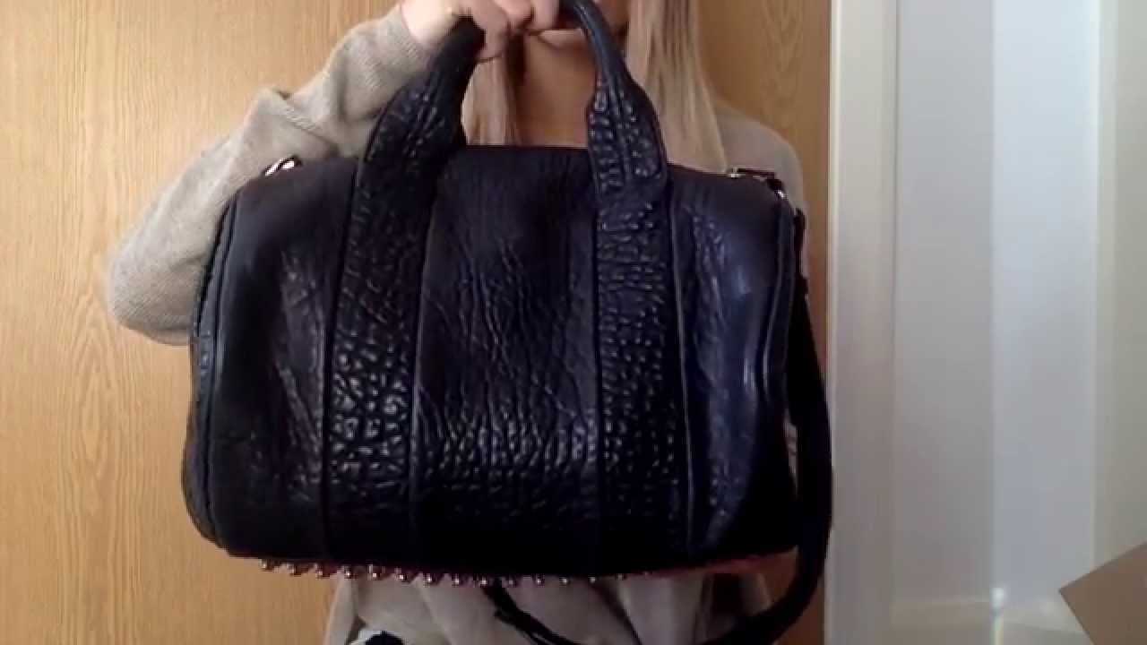 Alexander Rocco Bag In Pebbled Leather W Pale Rose Gold Studs You