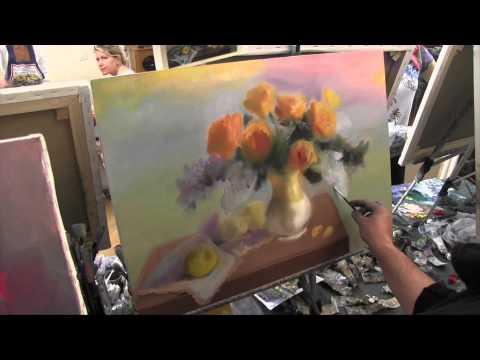 Желтые цветы в вазе , научиться рисовать цветы, розы маслом, Сахаров Игорь