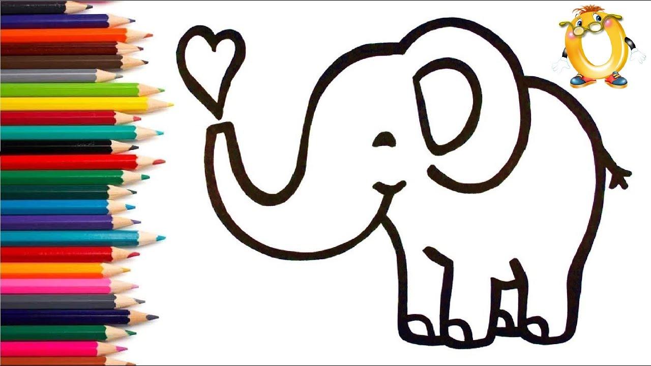 Раскраска для детей ВЛЮБЛЁННЫЙ СЛОНИК. Мультик - Раскраска. Учим цвета