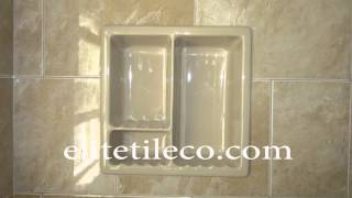 Ceramic tile Bathroom with a window framed in Marble