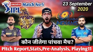 IPL 2020-Kolkata Knight Riders vs Mumbai Mumbai Indians 5th Match Pre-Analysis,Preview & Playing 11
