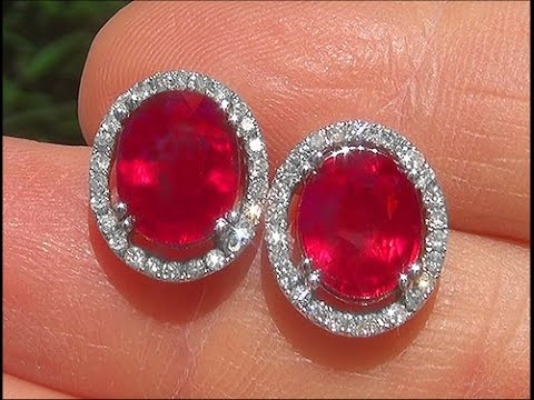 Certified Jewelry Red Ruby Diamond 14k White Gold Vintage Stud Earrings A141694 You