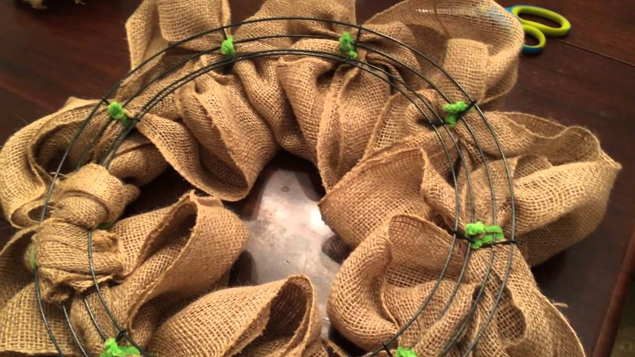 How to make a burlap wreath youtube how to make a burlap wreath baditri Image collections