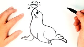 How to draw a Seal for kids | Seal Drawing Lesson Step by Step