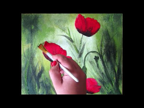 red poppy painting in acrylic on canvas panel