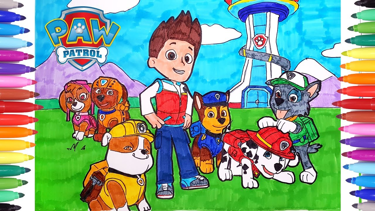 Paw Patrol Kids Coloring Book | How to Draw Paw Patrol | Learn ...