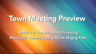 2017 Town Meeting Preview - Articles 19 & 20