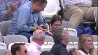 Players from both teams were laughing after a Woman in the crowd forget where the seat was. Ashes