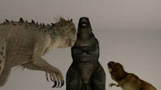 Godzilla, T-rex and Indominus Rex have some fun. I really have no e...