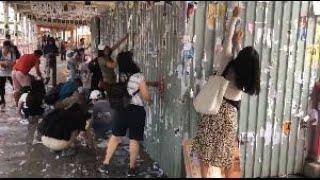 香港市民荃灣清理塗鴉:不想見到香港這樣下去