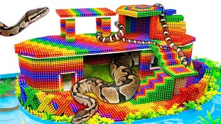 Build Playground House For Python And Snake With Magnetic Balls (Satisfying) - Magnet Balls