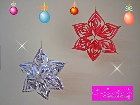 Manualidades estrella colgante 3d youtube for Decoracion de navidad con papel