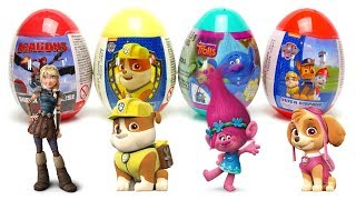 Surprise EGG set unboxing Trolls Paw Patrol and Dragons