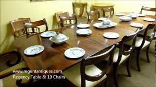 03181b Antique Regency Mahogany Dining Table & 10 Chairs