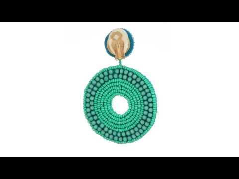 Kenneth Jay Lane Turquoise Seed Bead Circle Drop Clip Earrings SKU:8974959