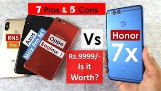 Honor 7x Top 7 Pros & 5 Cons | Honor 7x vs Asus max pro m1 vs Realme 1 vs Redmi Note 5 Pro