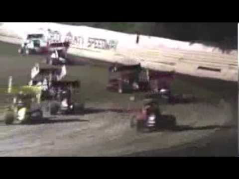 sprint car bad luck axle problems.  creek county speedway