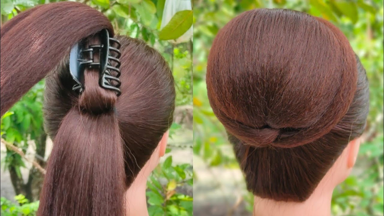 1 minute summer bun hairstyle with easy trick || clutcher hairstyle || hair style girl || new bun ||