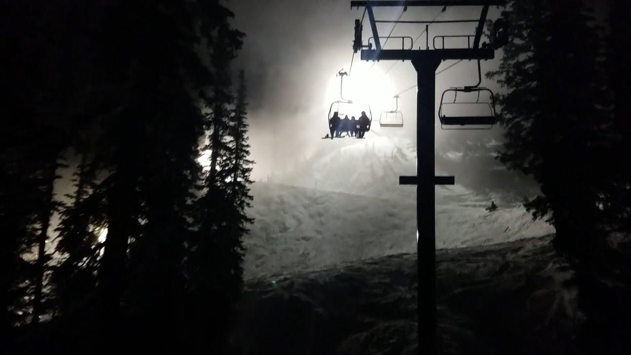 night skiing at brighton, utah - youtube