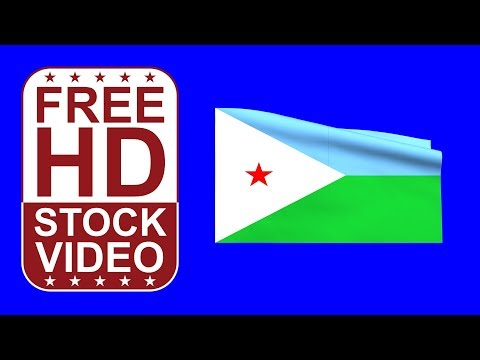 FREE HD video backgrounds – Djibouti flag waving on blue screen 3D animation