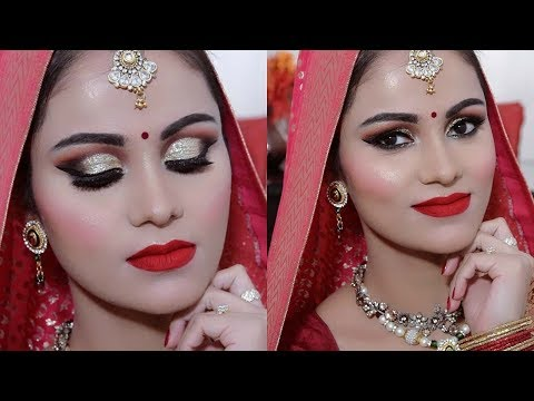 INDIAN BRIDAL Makeup TUTORIAL In HINDI || Traditional Look