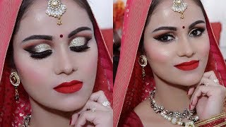 INDIAN BRIDAL Makeup TUTORIAL In HINDI | GOLD GLITTER  & Red Lips