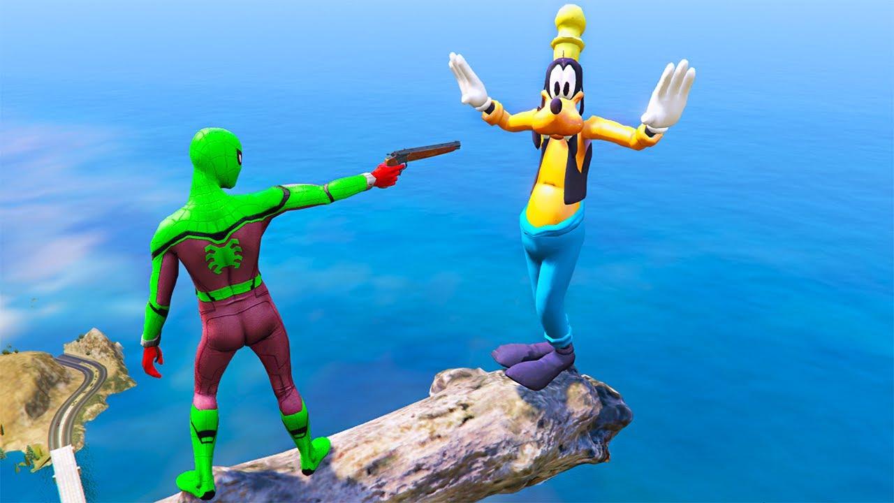 GTA 5 Gameplay Ragdolls Spiderman VS Goofy (Euphoria Physics Ragdolls Fails Funny Moments)