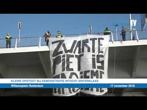 Kleine opstoot bij demonstratie intocht sinterklaas Rotterdam