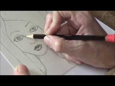 Drawing in Pencil - Mixed Media Face