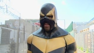 Real life superhero Phoenix Jones visits the UK