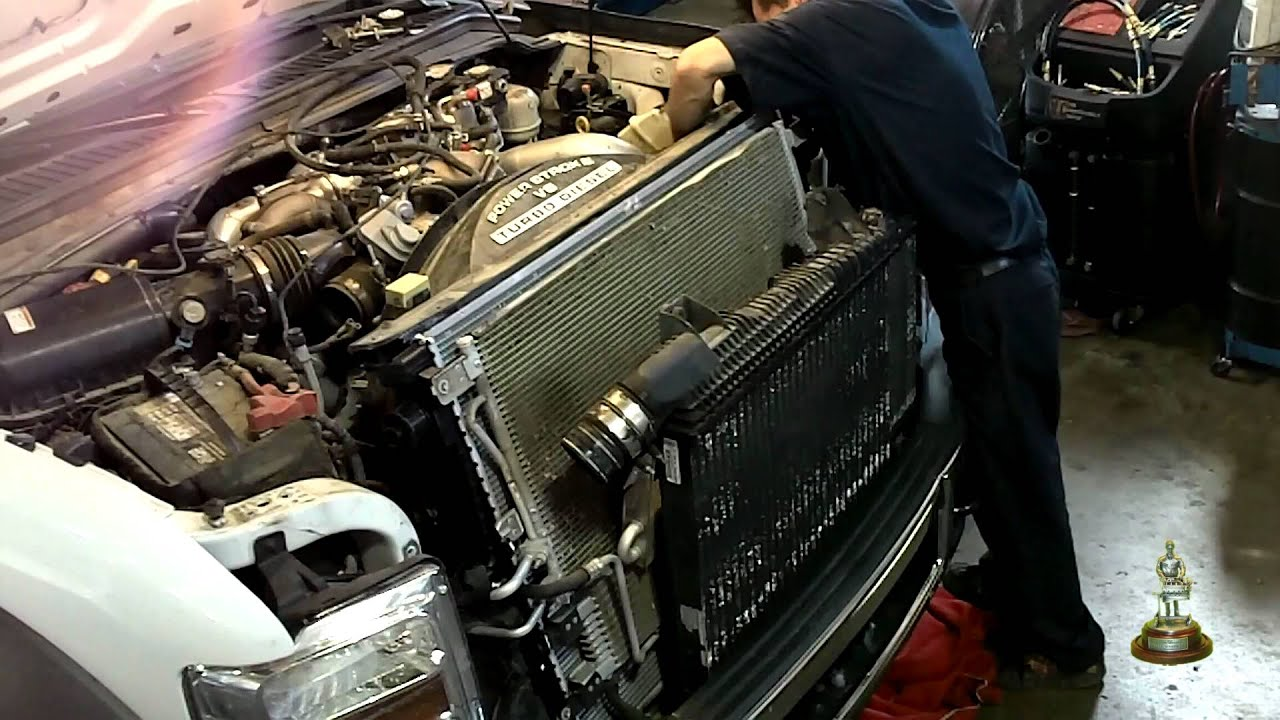 6 4 Liter Ford Powerstroke Radiator Installation  YouTube