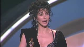 "Cher winning Best Actress for ""Moonstruck"""