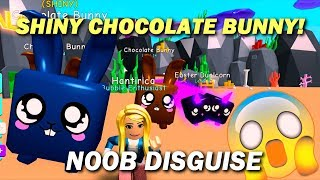 NOOB DISGUISE WITH SHINY CHOCOLATE BUNNY! 🐰 TROLLING! ALMOST SCAMMED! 😏 IN BUBBLE GUM SIMULATOR!