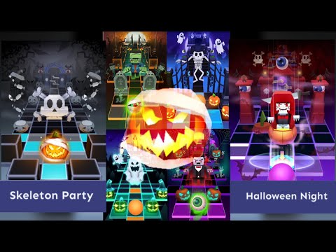 Rolling Sky - All Halloween Levels | Skeleton Party, Halloween Night etc...