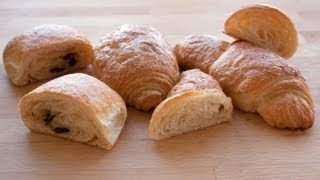 Croissant made with butter and pain au chocolat