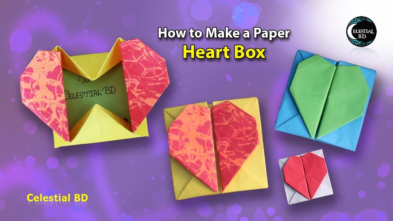 How To Make A Paper Origami Heart Box And Envelope Valentines Day Origami Heart Box Tutorial
