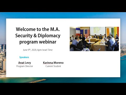 M.A. In Security And Diplomacy - Program Webinar, 2020