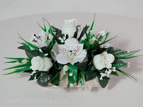 Arreglos florales jardinera cer mica alstroemerias y - Arreglos florales artificiales centros de mesa ...