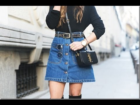 Denim Skirts Outfits Ideas 2017